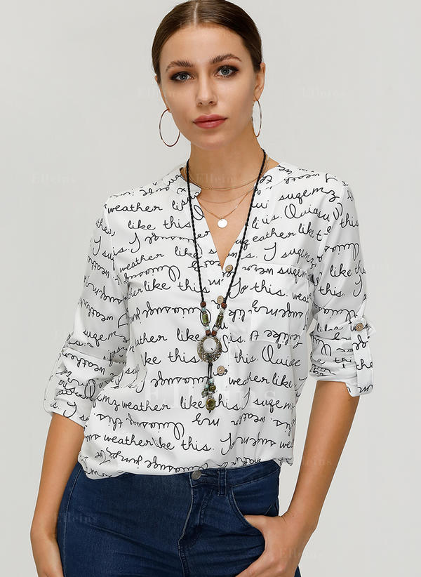 Print V Neck Long Sleeves Button Up Casual Blouses
