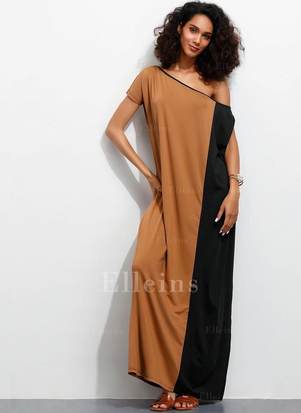 Color-block Cold Shoulder Sleeve Shift Maxi Casual Dresses