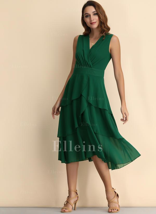 Solid Sleeveless A-line Midi Little Black/Casual Dresses