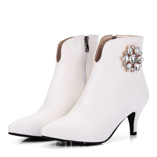 52664bacd3ad Women s Leatherette Low Heel Boots Closed Toe With Crystal ...