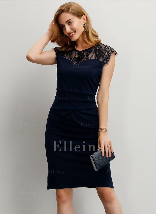 Lace/Solid Short Sleeves Sheath Knee Length Party/Elegant Dresses