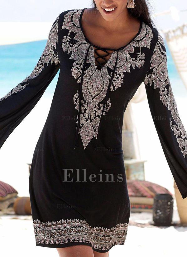 Print Long Sleeves Shift Above Knee Vacation Dresses