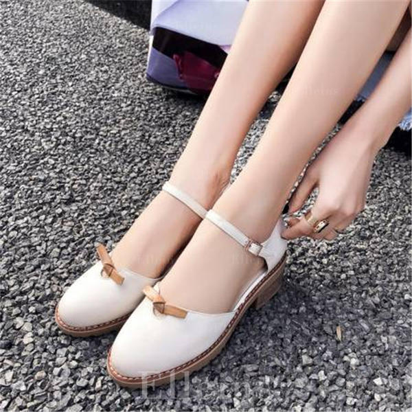 Women's PU Chunky Heel Sandals Closed Toe With Bowknot shoes
