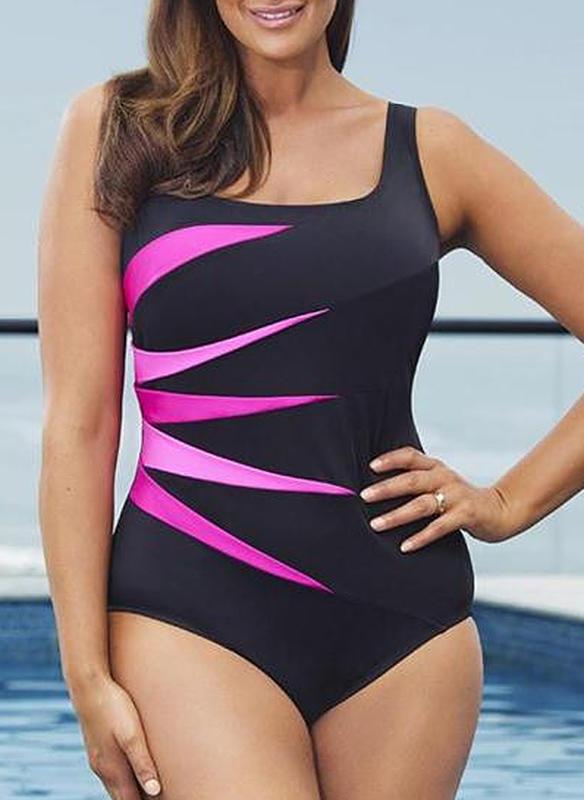 Colorful Strap Elegant Plus Size One-piece Swimsuits