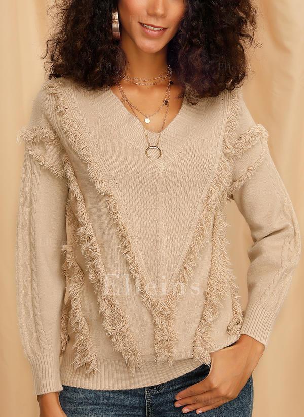 Jednobarevné Copánkový vzor Hrubá pletenina Výstřih do V Pulovere