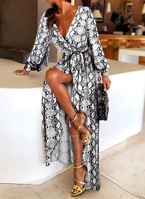 Animal Print Long Sleeves A-line Maxi Party Dresses