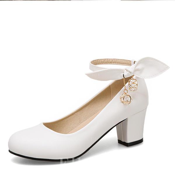 3d4eae5db1f21e Femmes Similicuir Talon bottier Escarpins Bout fermé Mary Jane avec Bowknot  Chaîne chaussures