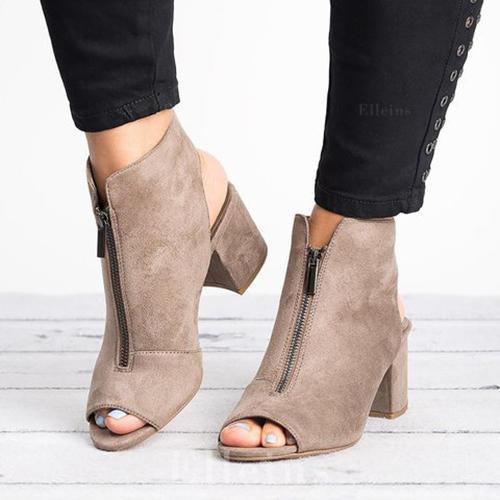 Women's PU Chunky Heel Pumps Peep Toe With Zipper shoes