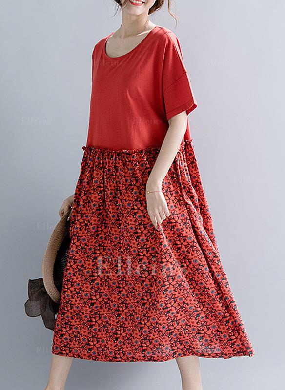 35dd71391c Nadrukowana Kwiatowy Krótkie rękawy Koktajlowa Midi Casual Sukienki ...
