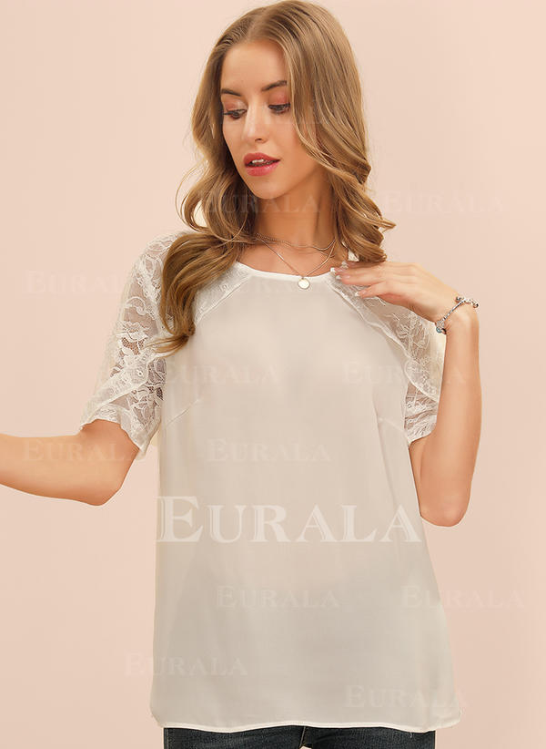 Solide Kant Ronde Hals Korte Mouwen Casual Blouses