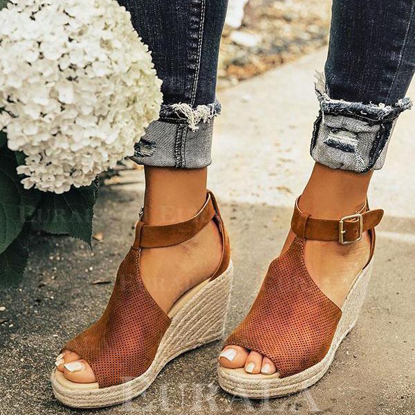 PU Wedge Heel Sandalen Wedges Peep Toe met Gesp schoenen