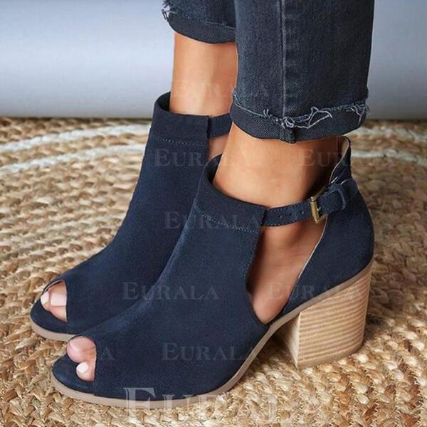 Női Szarvasbőr Chunky sarok Bokacsizma -Val Csat cipő