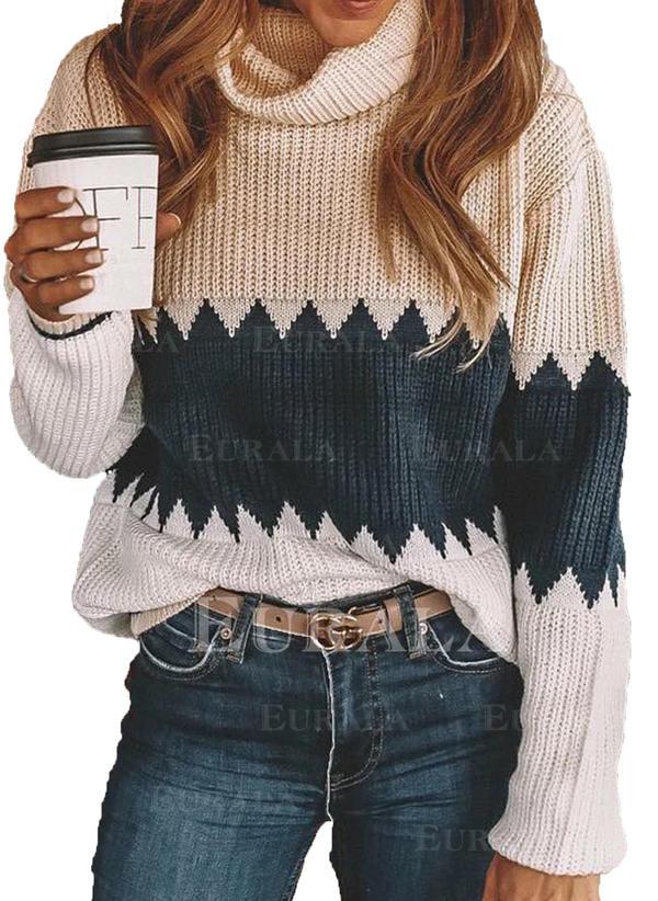 Geblockte Farben Wasserfallausschnitt Pullover