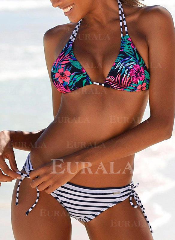Tropikal Baskı Se leagă după gât Sexy Bikini Mayolar