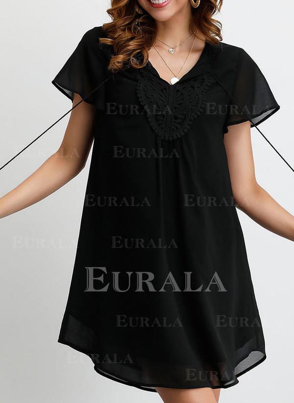 Κοντά Μανίκια Αμάνικο Πάνω Από Το Γόνατο Μικρό μαύρο/Καθημερινό Сукні