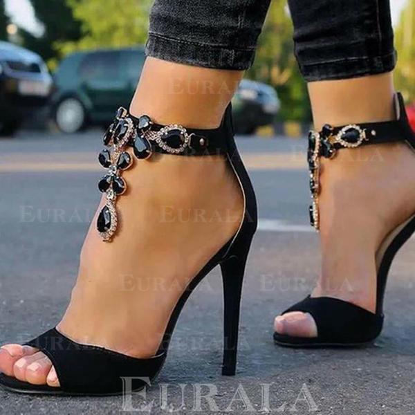 Női Szarvasbőr Tűsarok Szandál Peep Toe -Val Hegyikristály cipő