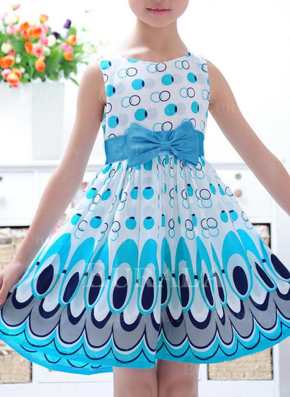 Meninas Neck redonda Impressão Arco Casual Bonito Vestido