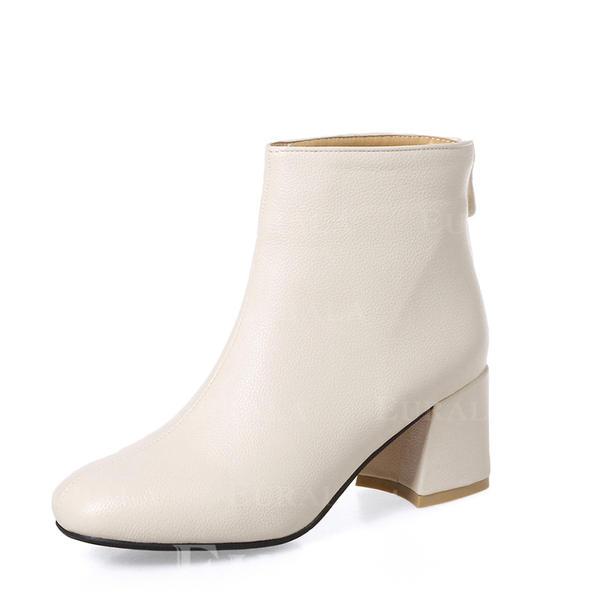Mulheres PU Salto robusto Bombas Botas Bota no tornozelo com Zíper sapatos