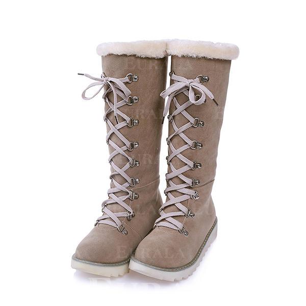 Mulheres Camurça Sem salto Botas Botas de neve com Aplicação de renda sapatos