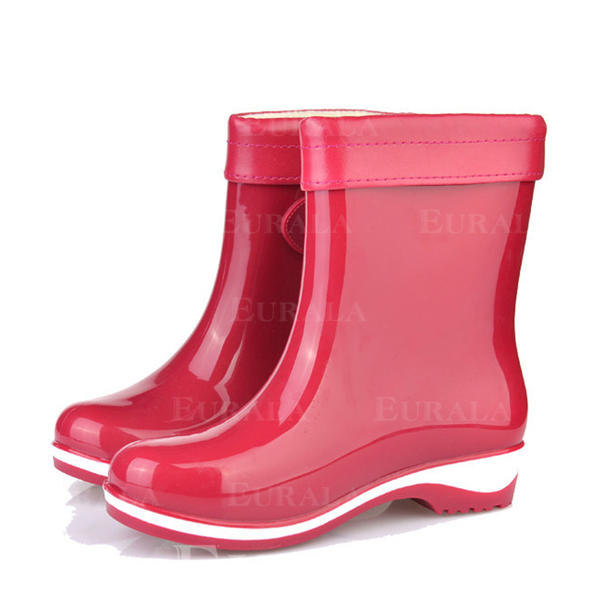 [US$ 11.99] Women's PVC Low Heel Closed Toe Boots Ankle Boots Rain Boots With Buckle shoes Eurala