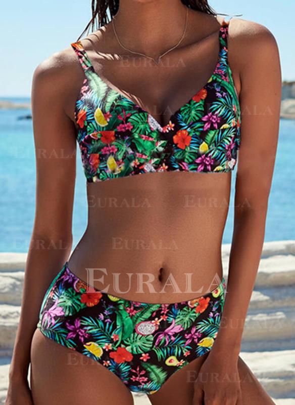 Çiçekli Yapraklar baskı Askı Zarif Bohem Bikiniler Fürdőruhák