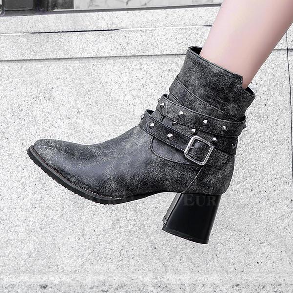 [US$ 42.99] Frauen Kunstleder Stämmiger Absatz Absatzschuhe Stiefel Stiefelette mit Niete Schnalle Schuhe Eurala