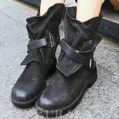 [US$ 24.99] Frauen PU Flascher Absatz Flache Schuhe Geschlossene Zehe Stiefel Stiefel Wadenlang mit Schnalle Schuhe Eurala