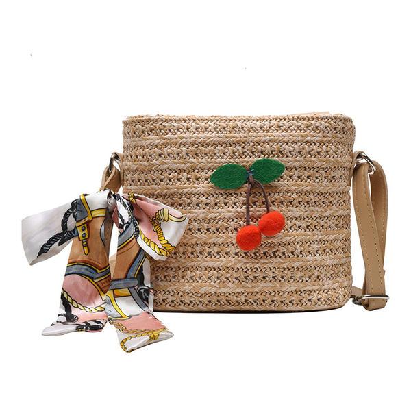 şeritlenmiş PU/Saman Plaj Çantaları/Kova Çantaları