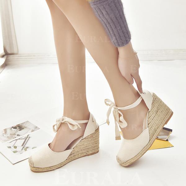 Bayanlar PU Sivri topuk Takozlar Ile Bağcıklı ayakkabı ayakkabı