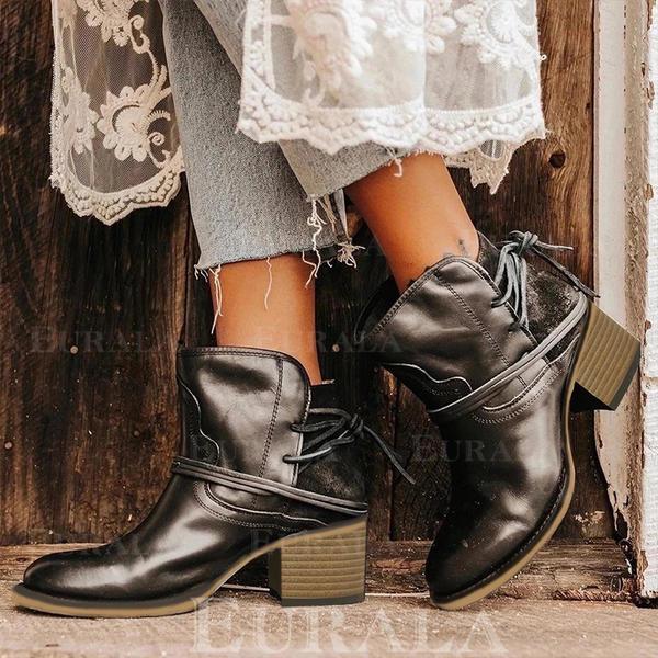 Frauen PU Stämmiger Absatz Martin Stiefel mit Zuschnüren Schuhe