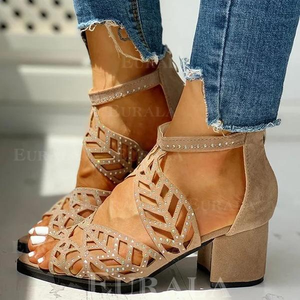 Női Szarvasbőr Chunky sarok Magassarkú Peep Toe -Val Hegyikristály Cipzár Hálós ruha cipő