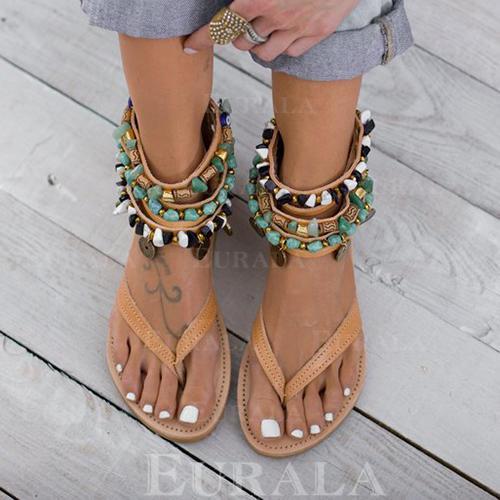 Vrouwen PU Flat Heel Sandalen Flats Peep Toe met Rits schoenen