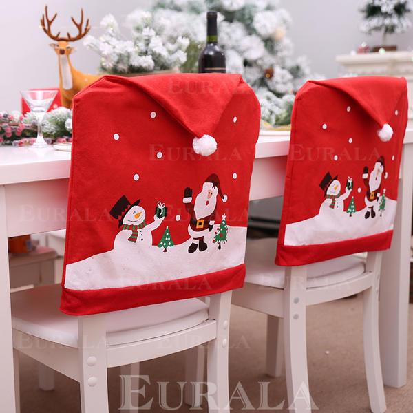 Fröhliche Weihnachten Schneemann Santa Vlies Stuhlbezug