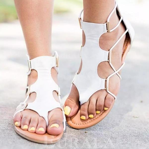Vrouwen PU Flat Heel Sandalen Flats met Elastiek schoenen