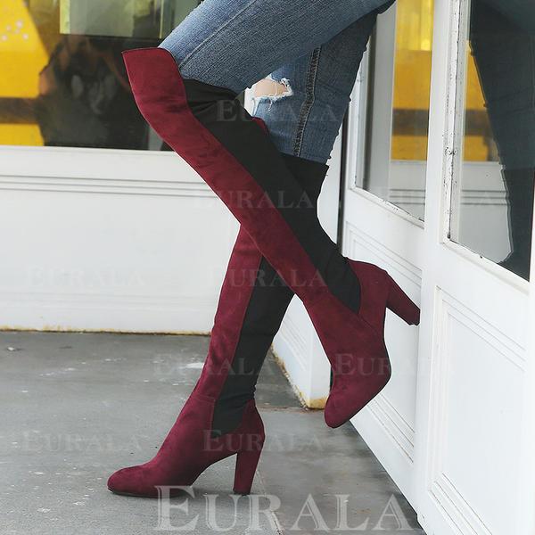 Frauen PU Stämmiger Absatz Stiefel über Knie mit Reißverschluss Schuhe