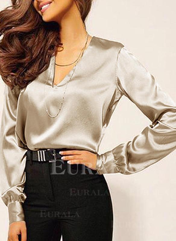 Einfarbig V-Ausschnitt Lange Ärmel Freizeit Elegant Blusen