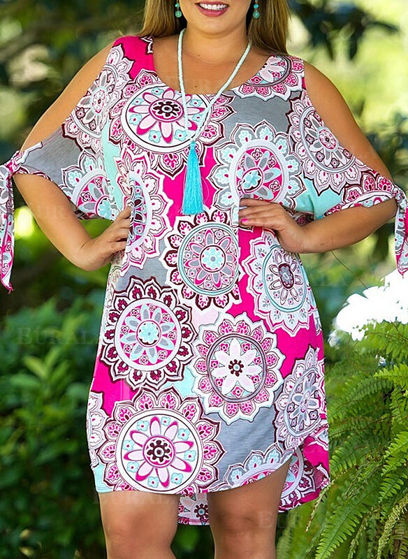 Print/Floral 1/2 Sleeves Shift Above Knee Casual/Boho/Vacation/Plus Size Dresses