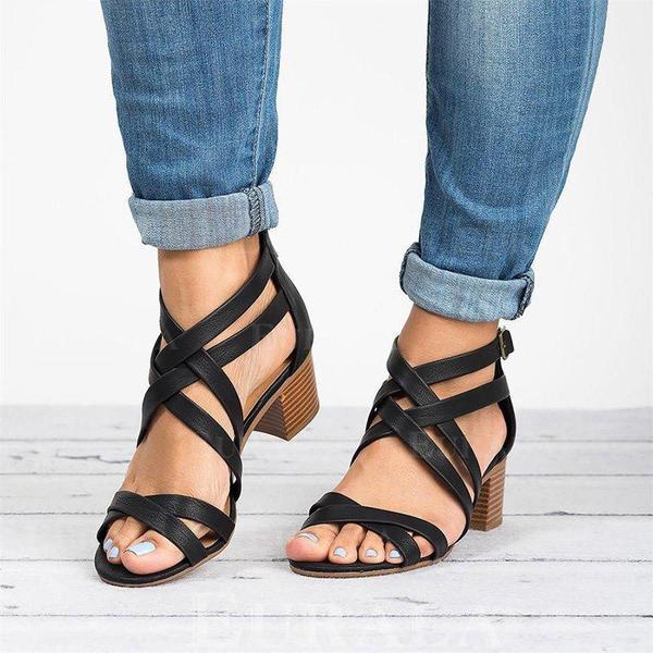 Vrouwen PU Chunky Heel Sandalen Peep Toe met Gesp schoenen