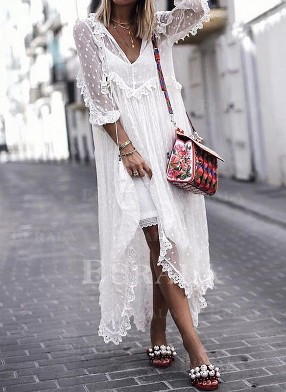 Lace/Embroidery/Solid 3/4 Sleeves Shift Maxi Boho/Vacation Dresses