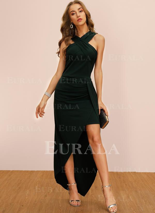 Solid Sleeveless Sheath Asymmetrical Party Dresses