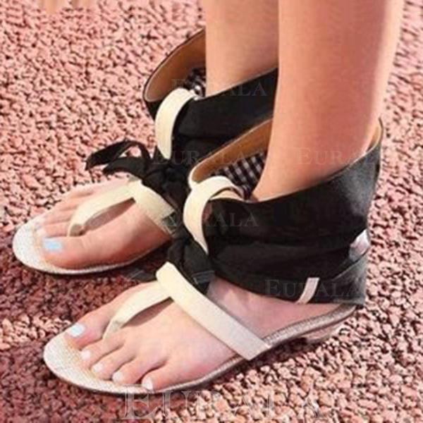 856bec610ed8 Kvinner Lær Klut Lav Hæl Sandaler Titte Tå med Bowknot sko ...