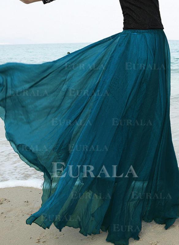 Tecido de seda Cor sólida Comprimento Do Piso saias de uma linha