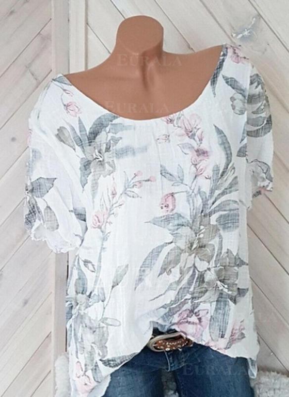 Bloemen Ronde Hals Korte Mouwen Casual T-shirts