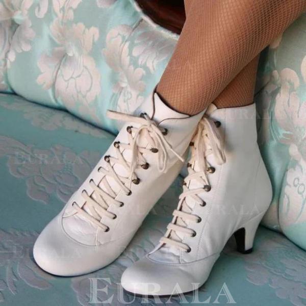 Női PU Spool sarok Bokacsizma -Val Lace-up cipő