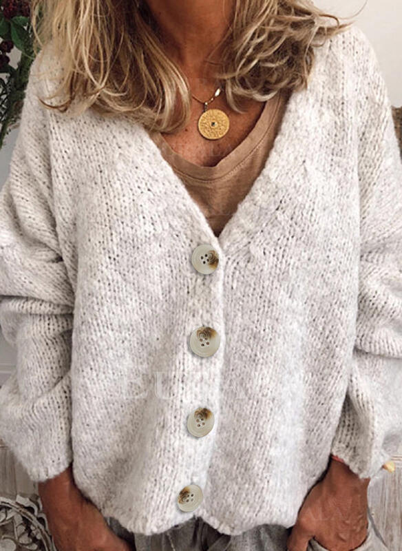 Polyester Manches longues Solid Gros tricot Cardigans