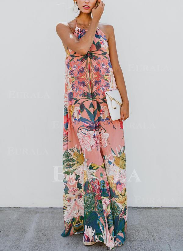 Εκτύπωση/Φλοράλ Αμάνικο Αμάνικο Σέξι/Καθημερινό/Μποέμ/Διακοπές Μάξι Сукні