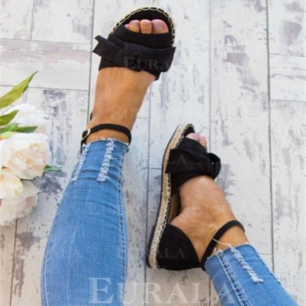 Mulheres Couro Sem salto Sandálias Sem salto com Fivela sapatos