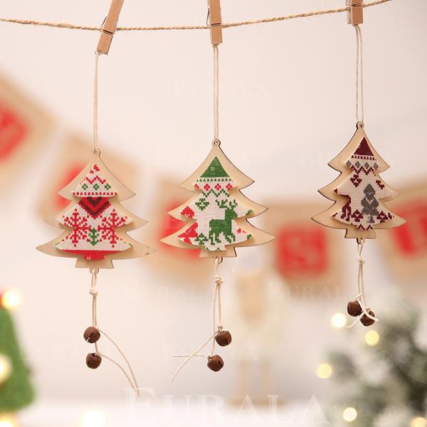 Fröhliche Weihnachten Hängend Weihnachtsbaum Hölzern Weihnachtsanhänger Weihnachtsdekoration Weihnachtsglocke