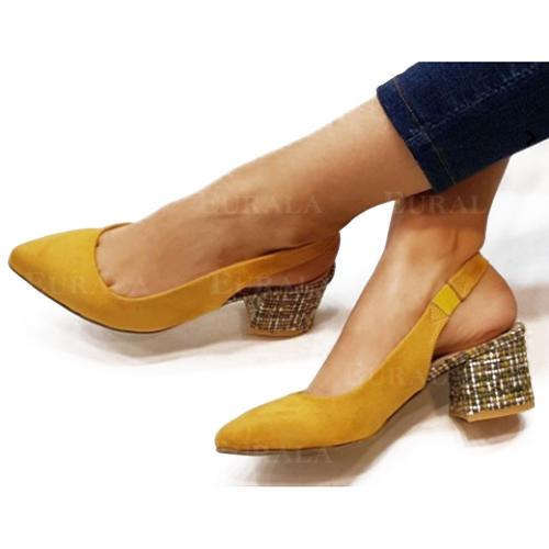 Bayanlar PU Topuklu ayakkabı Pompalar Kapalı Toe Ile Elastik bant ayakkabı