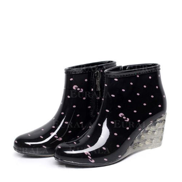 Mulheres PVC Plataforma Calços Botas Botas de chuva sapatos